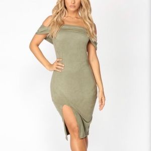 fashion nova suede off the shoulder midi dress